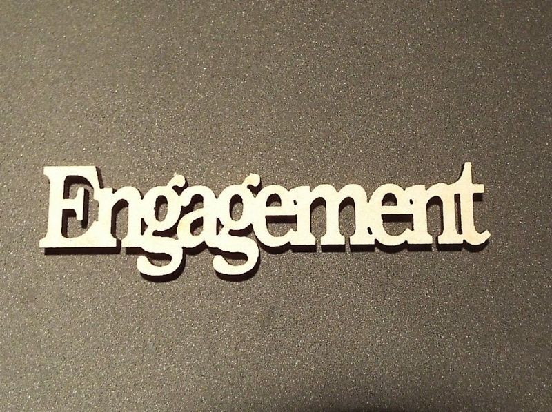 wooden craft ENGAGEMENT shapes, laser cut 3mm mdf embellishments
